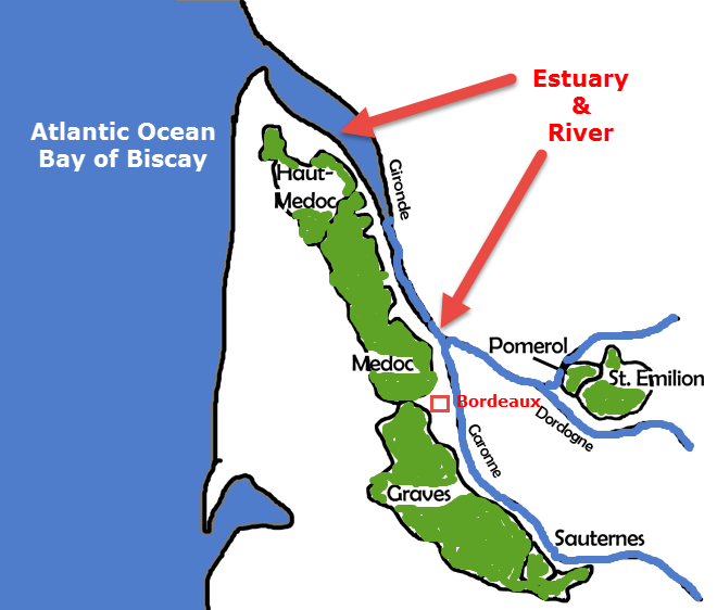 The the sea , estuary & river affect the vines