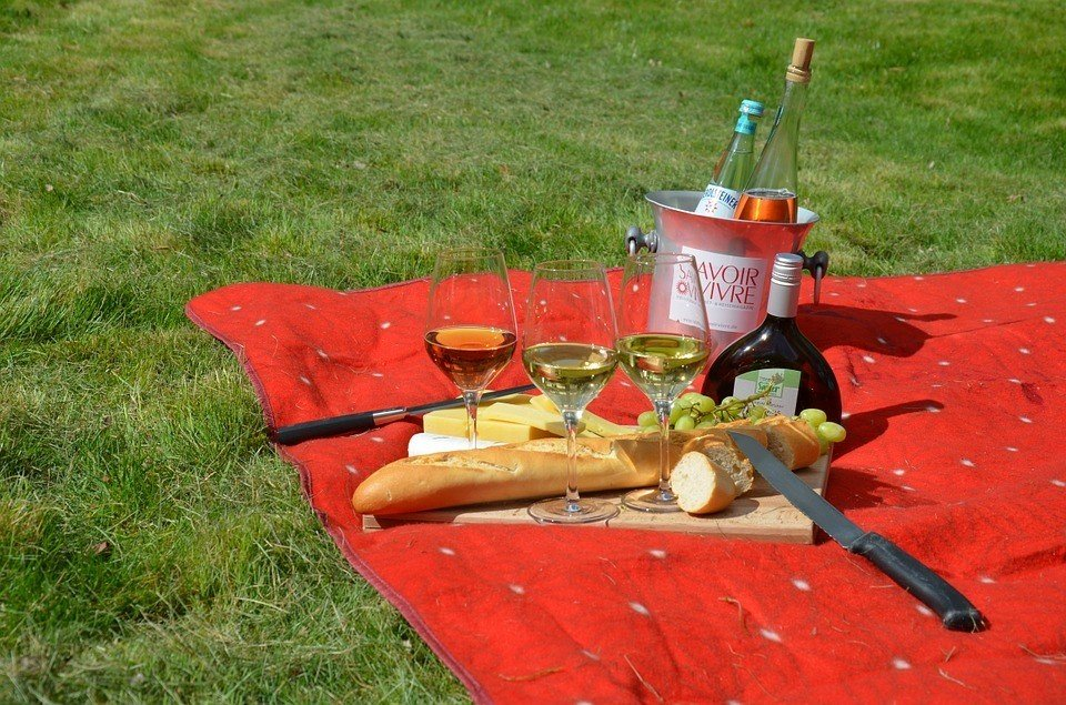 A chilled glass of light bodied red, white or rosé makes an excellent picnic experience!