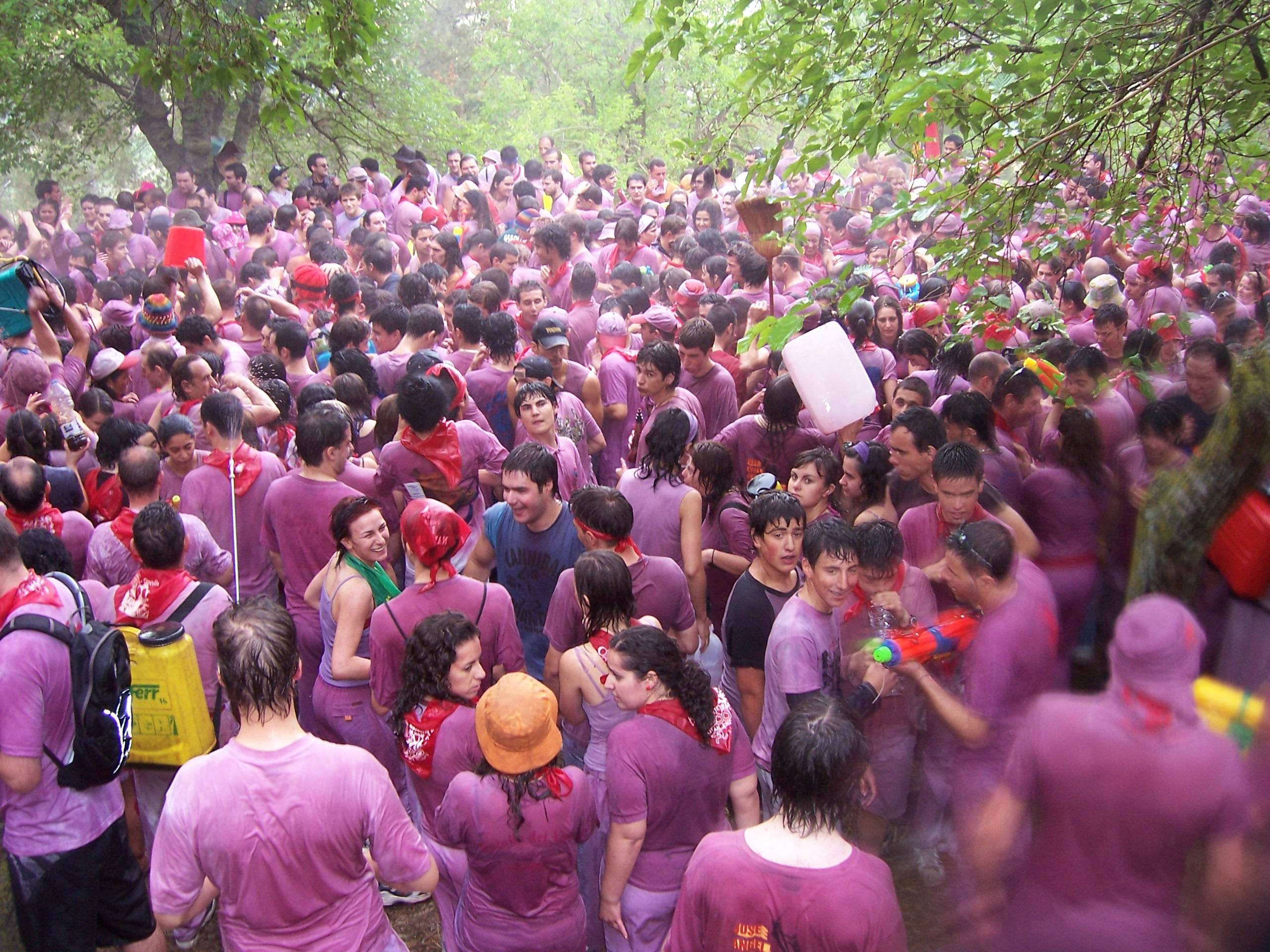 Thought of being covered in squashed tomatoes your idea of hell? Colour yourself fifty shade of purple instead at Haro's annual Wine Fight!